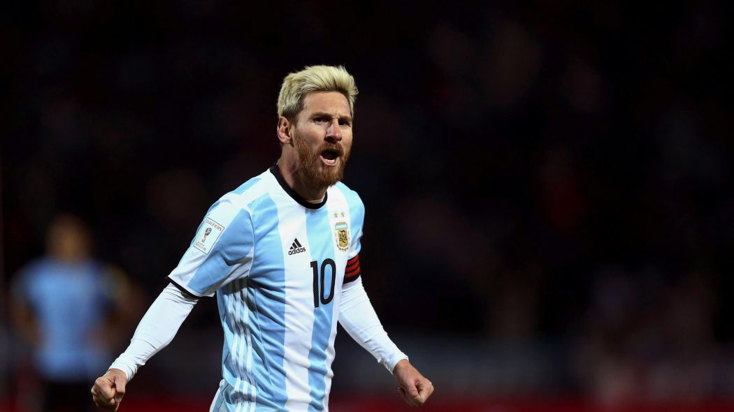 Messi in the light blue and white of Argentina - could he be wearing the sky blue and white of City next season?